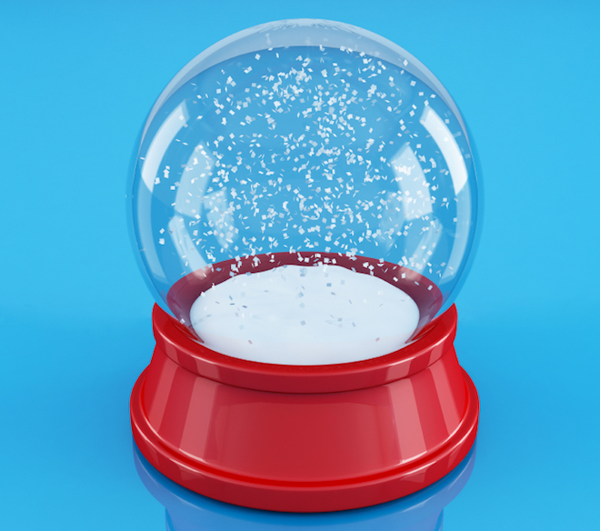 empty snowglobe isolated on blue - reflection